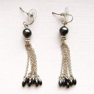 Vintage silver & black pearl tassel earrings
